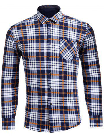 New Flocking Turndown Collar Tartan Pocket Shirt