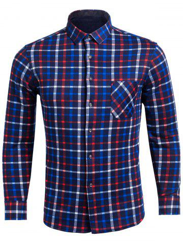 Online Flocking Turndown Collar Color Block Plaid Pattern Pocket Shirt BLUE 4XL