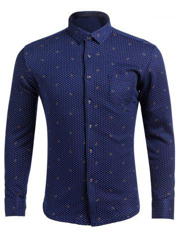 Shops Flocking Turndown Collar Polka Dot Pattern Pocket Shirt
