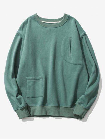 Buy Flocking Pockets Design Graphic Print Drop Shoulder Sweatshirt
