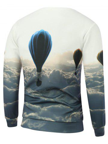 Outfit Hot Air Balloon Printed Crew Neck Sweatshirt - 2XL WHITE Mobile