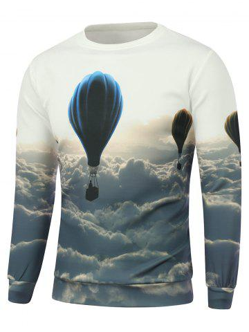 Affordable Hot Air Balloon Printed Crew Neck Sweatshirt - S WHITE Mobile