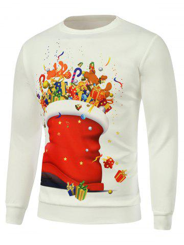 Unique Cartoon Printed Crew Neck Christmas Sweatshirt WHITE 3XL