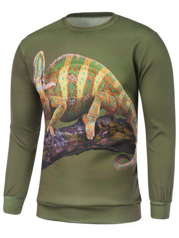 Latest Chameleon Printed Crew Neck Sweatshirt GREEN 3XL