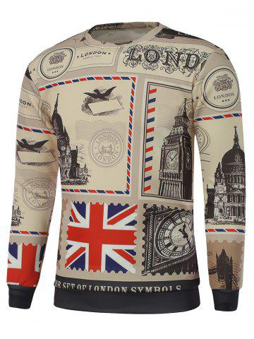 Shop Big Ben Printed Crew Neck Sweatshirt - S LIGHT KHAKI Mobile