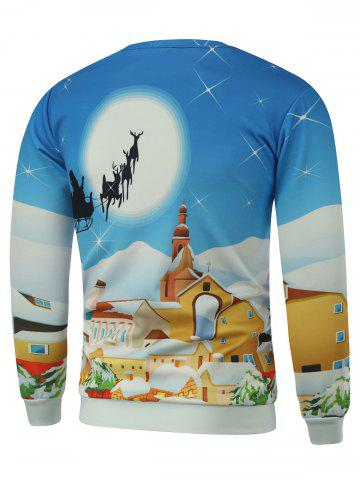 Discount Cartoon Print Crew Neck Christmas Sweatshirt - 2XL BLUE Mobile