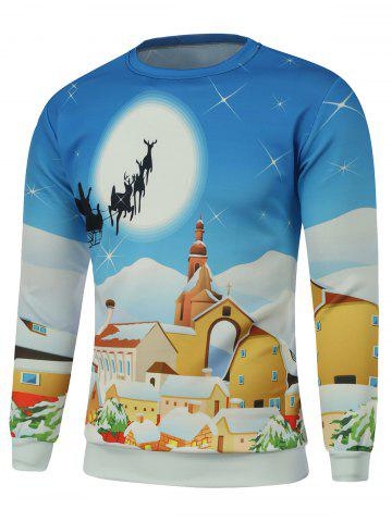 Chic Cartoon Print Crew Neck Christmas Sweatshirt - 2XL BLUE Mobile