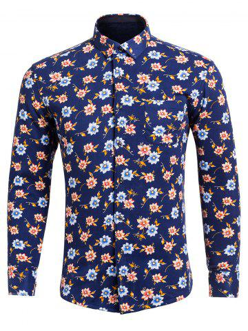 Trendy Long Sleeve Floral Printed Pocket Shirt
