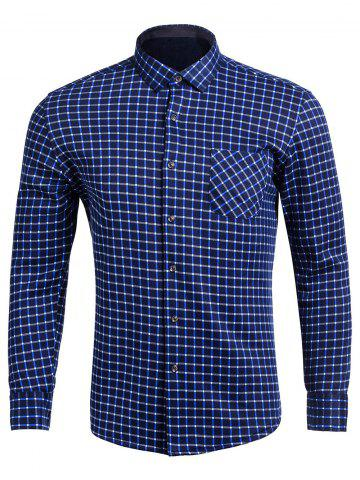 Affordable Turndown Collar Long Sleeve Pocket Checked Shirt BLUE 4XL