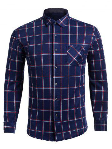 Discount Long Sleeve Turndown Collar Pocket Checked Shirt DEEP BLUE 4XL