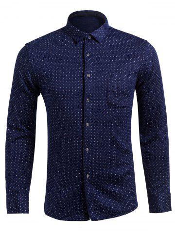 New Long Sleeve Pocket Design Polka Dot Shirt