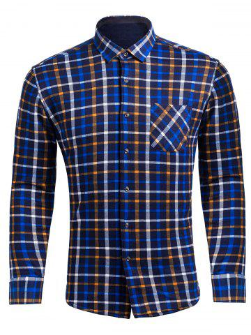 Buy Flocking Checked Flannel Shirt CHECKED 4XL