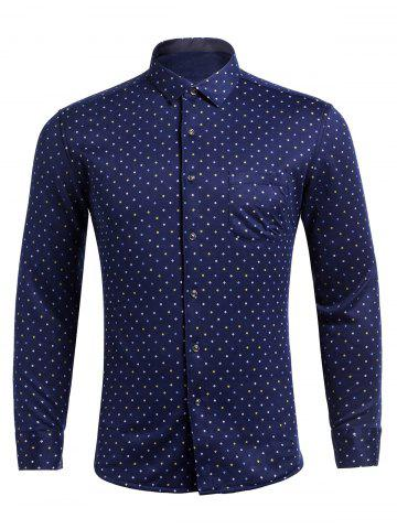 Buy Long Sleeve Flocking Polka Dot Pocket Shirt