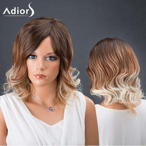 Latest Adiors Hair Multi Color Medium Side Parting Wavy Synthetic Wig WHITE AND BROWN