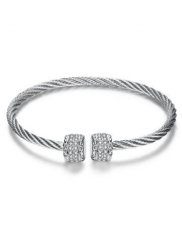 Punk Twisted Wire Cuff Bracelet - WHITE / GOLD