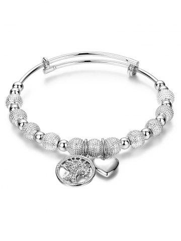 Silver Dull Polished Beads Heart Charm Bracelet - SILVER