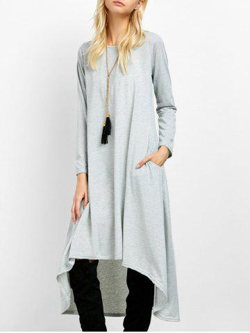 Hot Asymmetric Casual Long Sleeve Tea Length Dress
