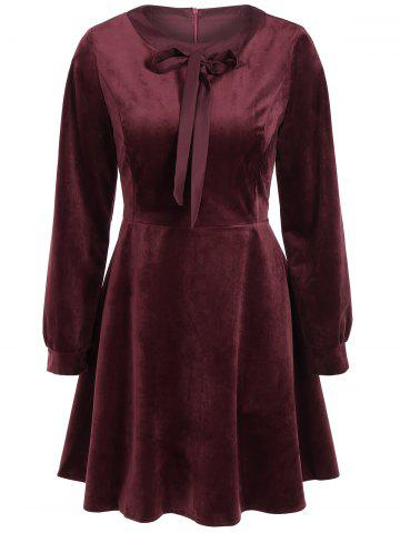 Vintage Bow Tie Velvet Skater Dress with Sleeves