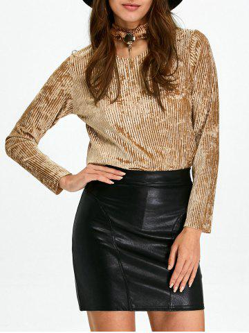 Buy Keyhole Pleated Velvet Blouse and Sheath Leather Skirt