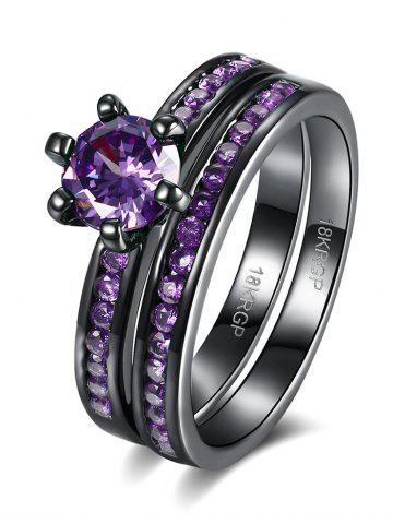 Affordable 2PCS Rhinestone Couple Finger Rings - 7 PURPLE Mobile
