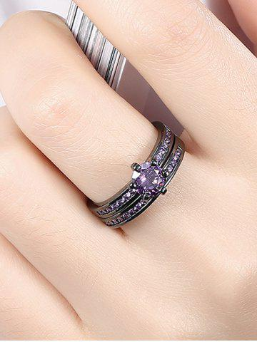 New 2PCS Rhinestone Couple Finger Rings - 7 PURPLE Mobile