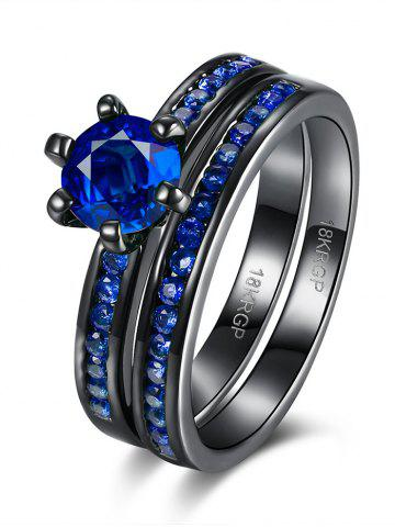 Unique 2PCS Rhinestone Couple Finger Rings BLUE 7