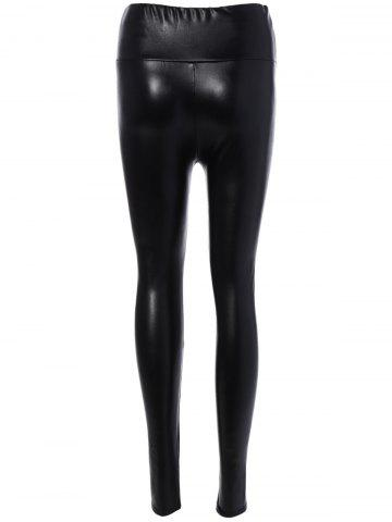 Sale PU Leather High Waist Leggings - M BLACK Mobile