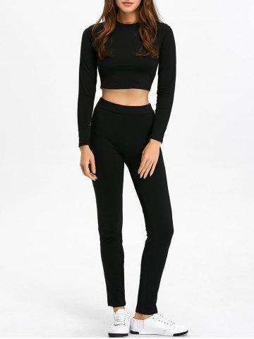 Long Sleeve Crop Top and Skinny Pants - Black - M