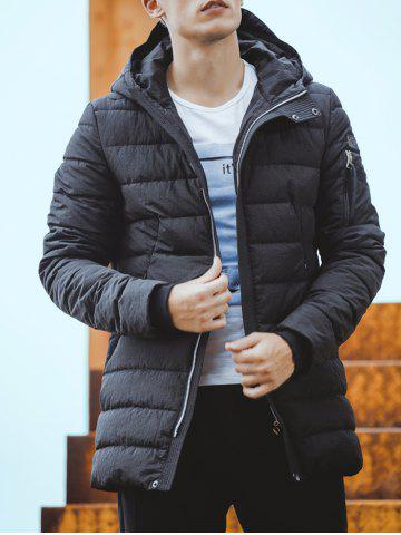 Online Rib Cuff Zip Pocket Hooded Padded Coat