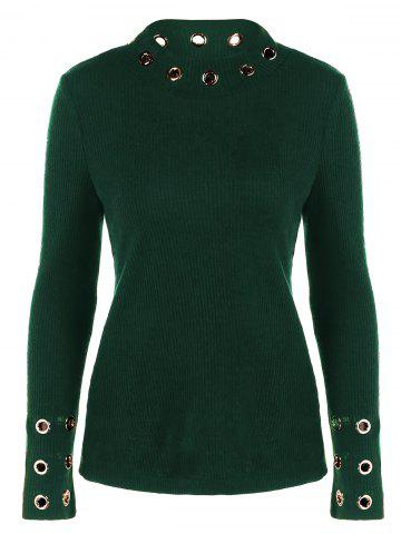 Ribbed Knitwear with Eyelet Embellished - GREEN XL