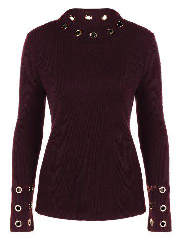 Ribbed Knitwear with Eyelet Embellished - Dark Red - M