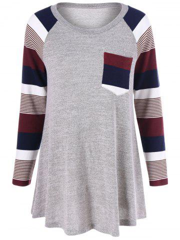 Best Striped Trim Knitwear GRAY XL
