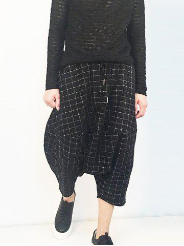 Affordable Plaid Drawstring Drop Crotch Cropped Pants