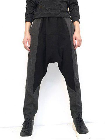 New Drop Crotch Loose Two Tone Pants