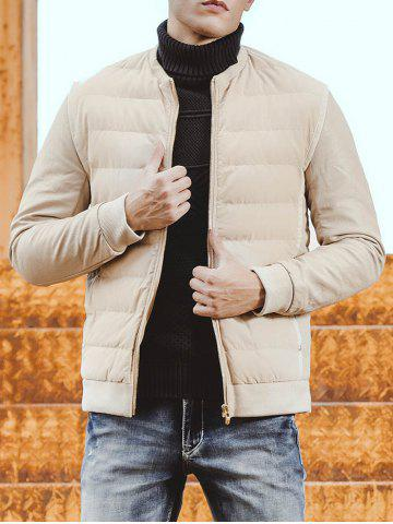 New Collarless Rib Trim Zip Up Padded Jacket