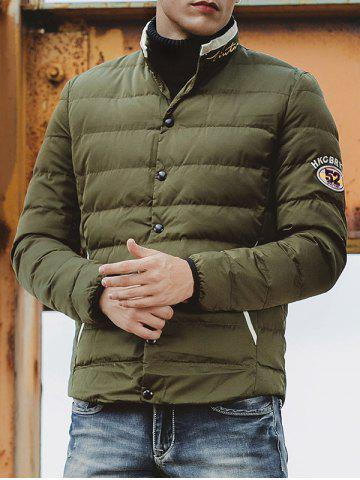 Hot Embroidered Patch Snap Front Padded Jacket