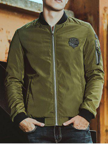 Cheap Patched Pockets Stand Collar Zippered Jacket