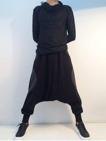 Affordable Loose Drop Crotch Inserted Jogger Pants