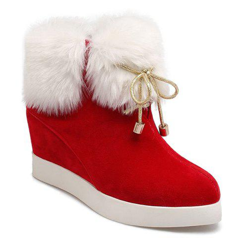 Fancy Hidden Wedge Suede Faux Fur Short Boots