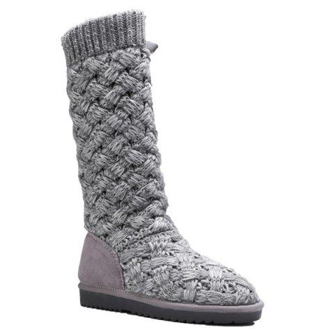 Shops Flat Heel Knitting Tie Up Boots