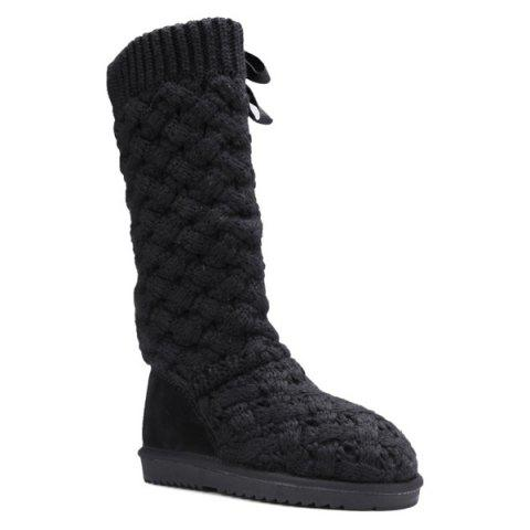 Flat Heel Knitting Tie Up Boots - Black - 38