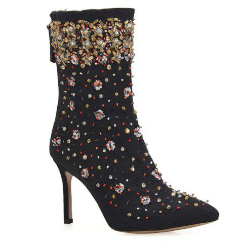 Best Stiletto Heel Rhinestones Zipper Short Boots