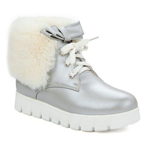 Online Faux Fur Bow Hidden Wedge Ankle Boots