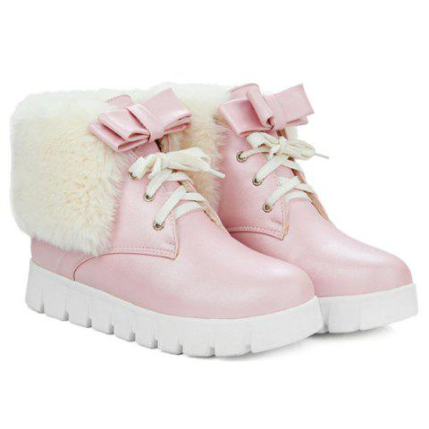Cheap Faux Fur Bow Hidden Wedge Ankle Boots