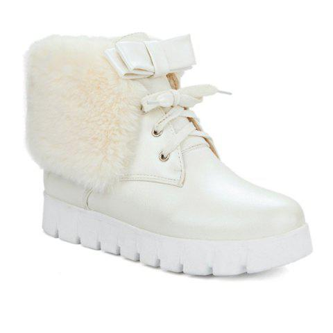 Faux Fur Bow Hidden Wedge Ankle Boots - Off-white - 38