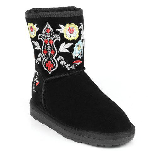 Store Colour Block Embroidery Vintage Snow Boots