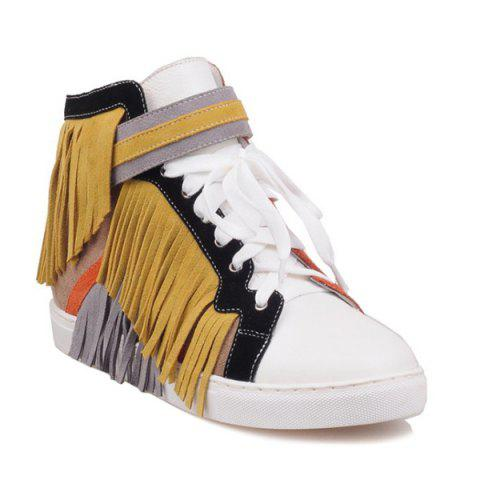 Trendy Color Block Suede Panel Fringe Short Boots