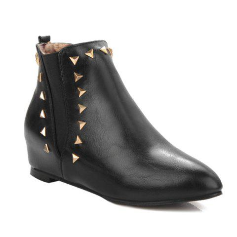 Discount Pointed Toe Triangle Rivet Ankle Boots