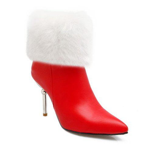 Discount Heeled Fold Down Pointed Toe Boots RED 43