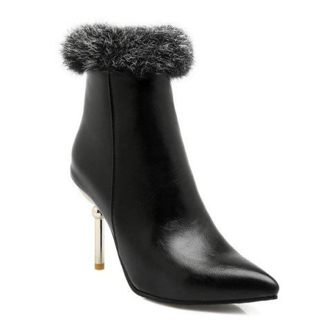 Trendy Pointed Toe Faux Fur Top Ankle Boots